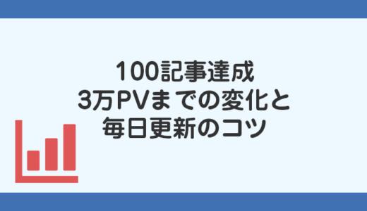 100記事達成!約3万PV数までの変化と毎日更新するコツ