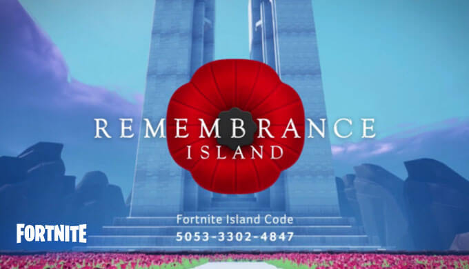 【フォートナイト】ロイヤルカナディアンレギオン、第一次世界大戦終結記念11月11日にクリエイティブ島『リメンブランス・デー』を公開!